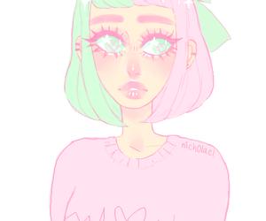 art, big eyes, and color hair image