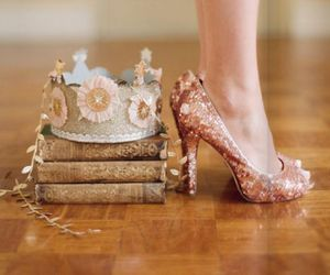 shoes, book, and crown image