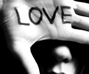 love, hand, and black and white image