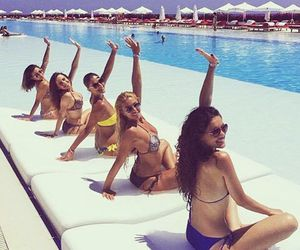 bikinis, sunglasses, and friendship image