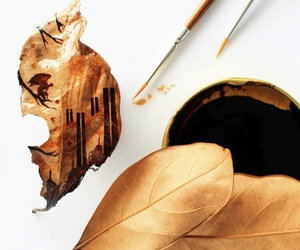 leaf, paintings, and coffee-stained image