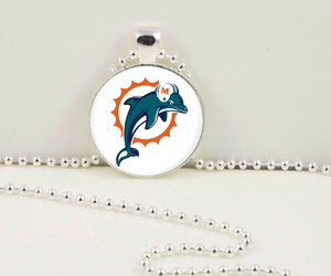 football pendant, football necklace, and miami dolphins pendant image