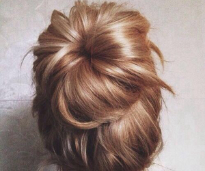 hair, bun, and blonde image