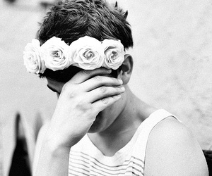 boy, flowers, and vintage image