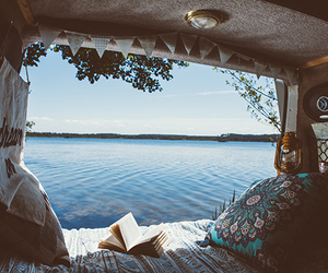summer, sea, and book image