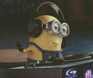 dj, minion, and music image
