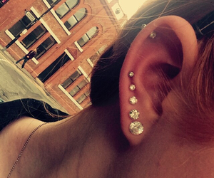 ear, Piercings, and earring image