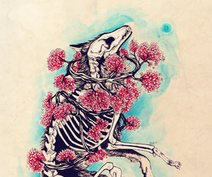 art, flowers, and skeleton image