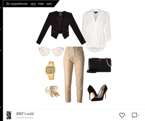 beige, blouse, and casio image