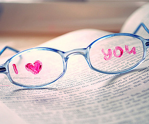 love, glasses, and book image