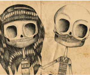 skull, couple, and drawing image