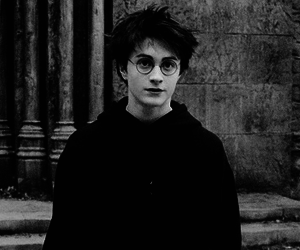 harry potter, black and white, and hogwarts image