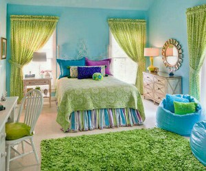 bedroom, green, and room image