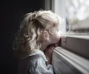 girl, window, and child image