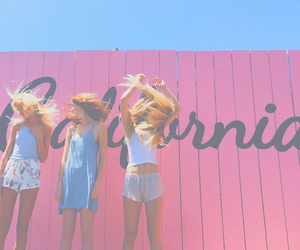 girl, california, and pink image