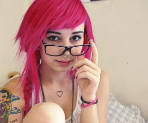 glasses, ink, and pink hair image