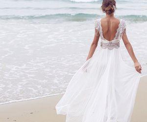 dress, wedding, and beach image