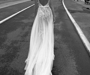 black&white, dress, and wedding image