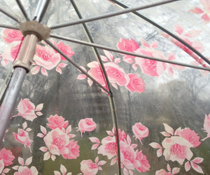 flowers, umbrella, and pink image