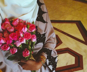hijab, flowers, and rose image