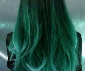 green, dark green hair, and ombre image