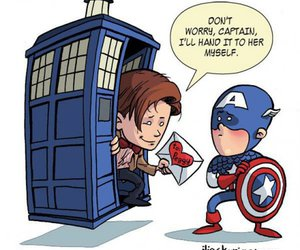 captain america, doctor who, and tardis image