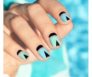 black and blue, mani, and manicure image