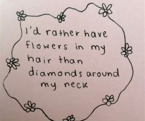 flowers, diamonds, and quote image