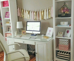 desk, room, and pink image