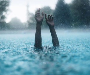 hands, water, and blue image