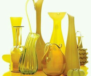 bottles, yellow, and vases image