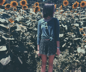 brown hair, field, and floral image