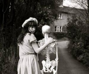 girl, black and white, and skeleton image