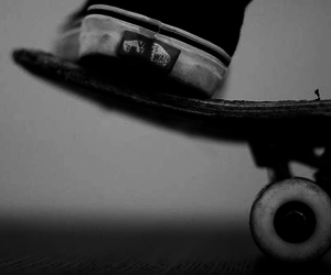 vans, skate, and black and white image