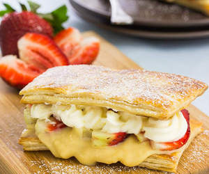 custard, strawberry, and puff pastry image