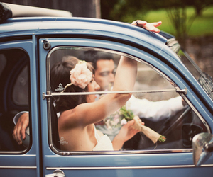 bride, car, and groom image