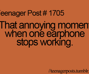teenager post, annoying, and earphone image