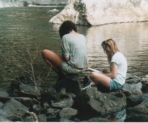 girl, friends, and river image