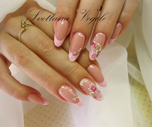 flowers, franch, and nails image