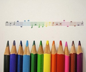 music, colors, and pencil image