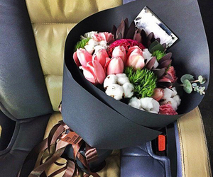 flowers, bouquet, and car image