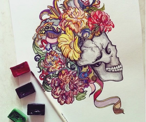 skull, drawing, and skeleton image