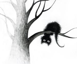 cat, tree, and art image