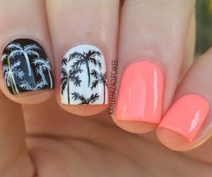 beach, girl, and palm tree image