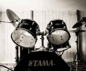 b&w, drum kit, and drums image