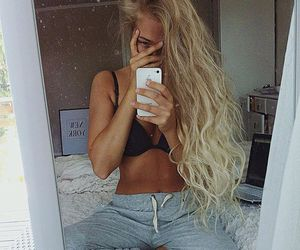 curls, girl, and messy hair image