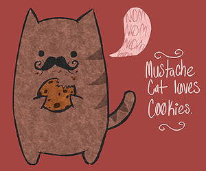 cat, mustache, and Cookies image