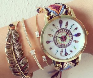 watch, bracelet, and feather image