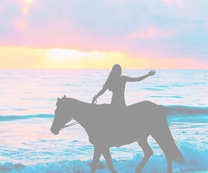 girl, horse, and ocean image