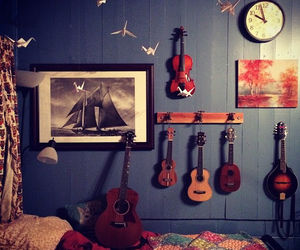 bed room, clock, and violin image